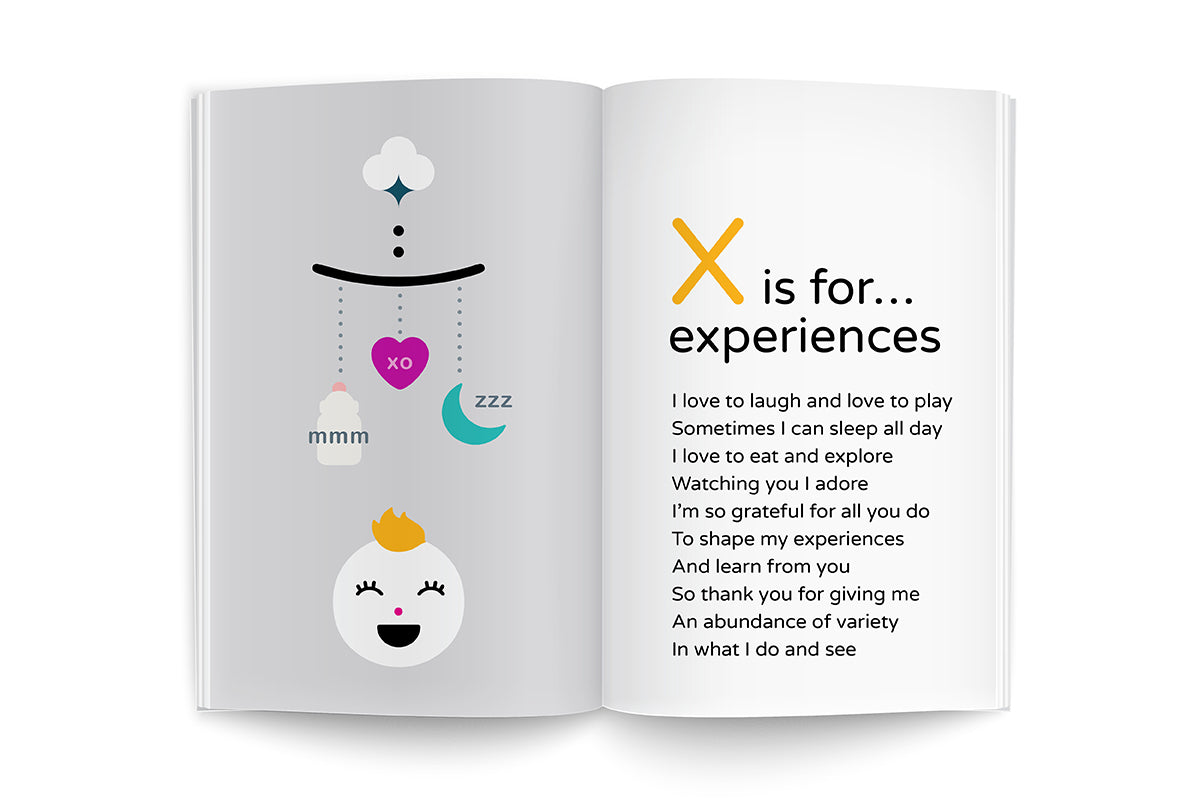 X is for experiences recipe poem and illustration, page from Recipes for Growing Me ~9 Months edition