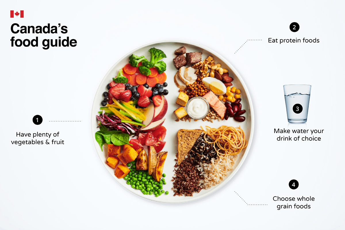 Canada's food guide, plate of fruits and vegetables, protein foods, whole grain foods, glass of water, recommended balanced diet intake, eat healthy, eating fresh, watch me bloom blog