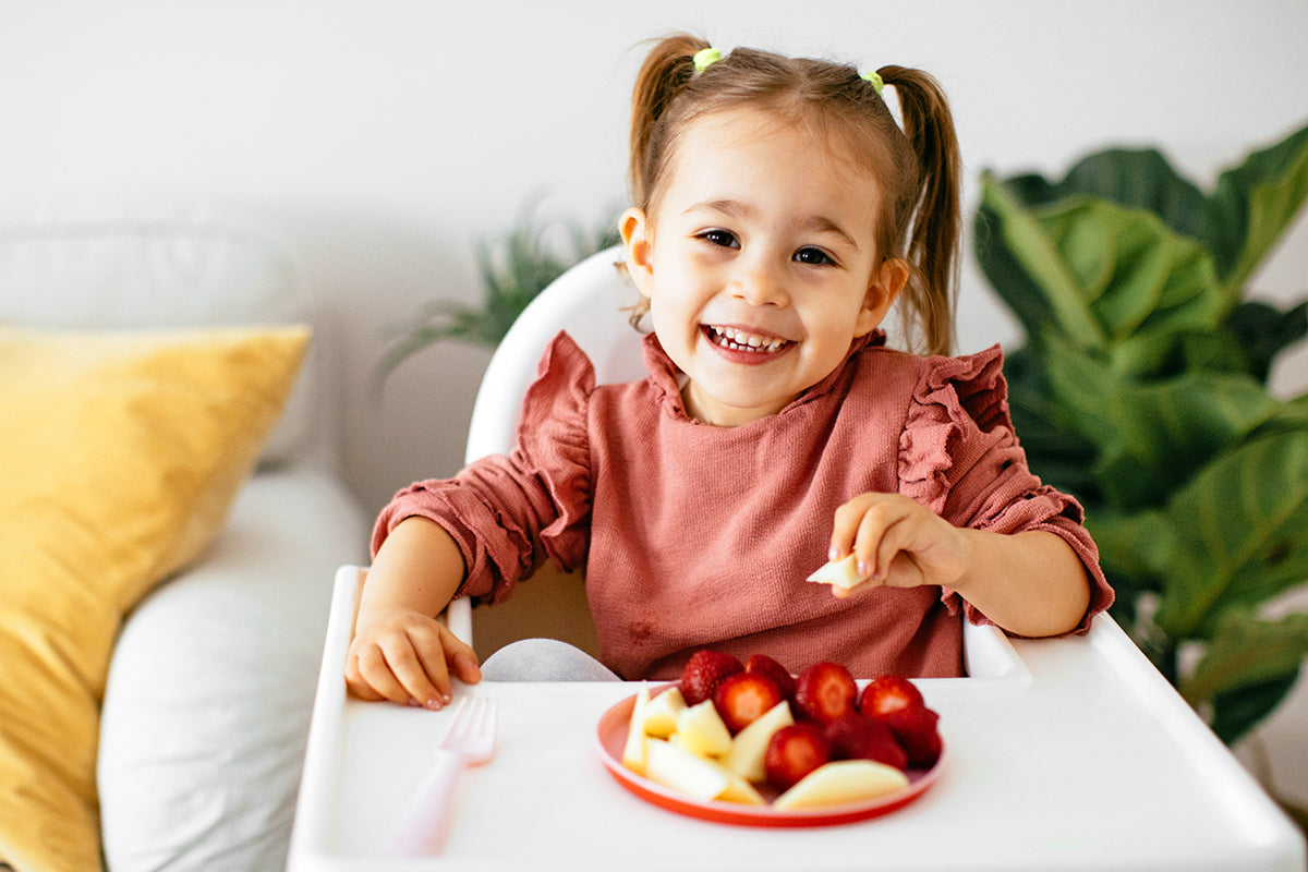 caucasian blonde toddler enjoy tasting different seasonal fresh ripe organic berries sitting in highchair at home living room