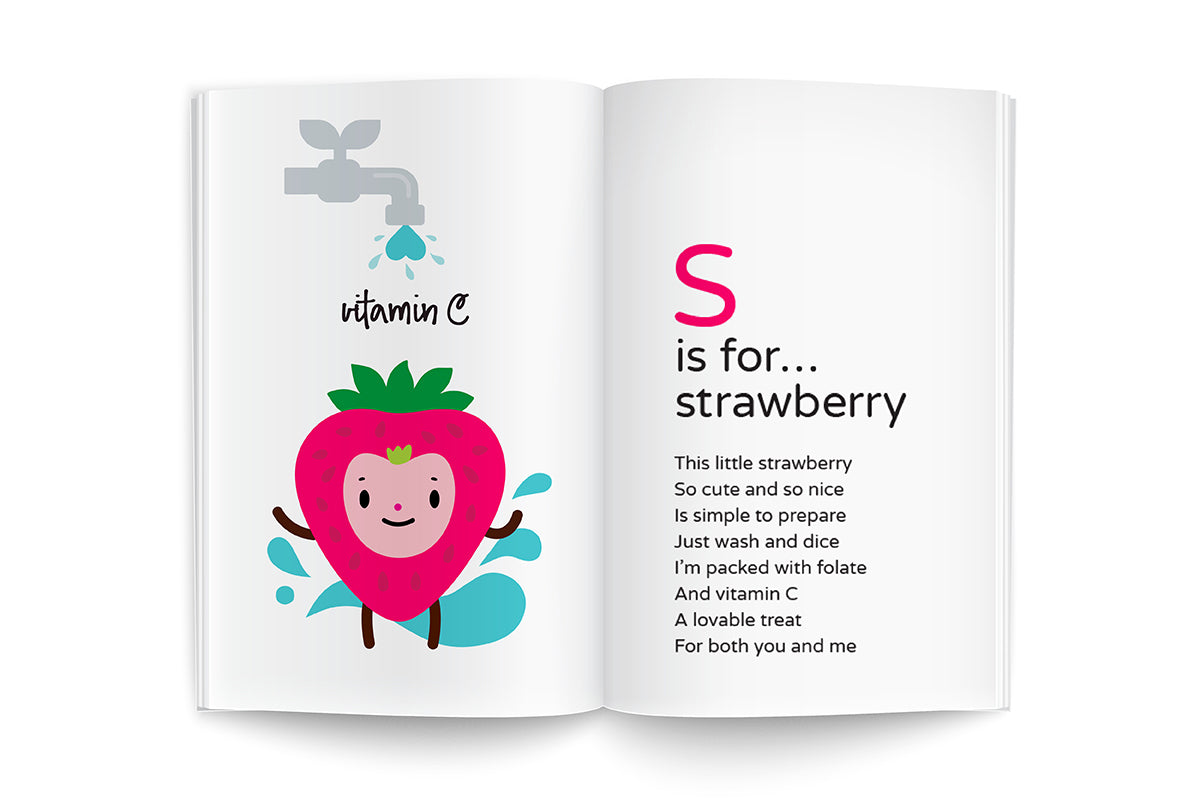 "sample page from recipes for growing me ~9 months, baby's first cookbook series, ""S is for…strawberry"", feed baby fresh fruits, what to feed your baby, baby recipe ideas"