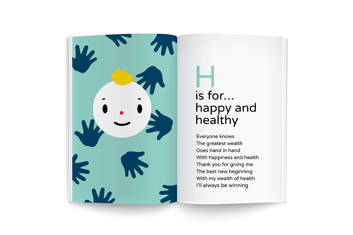 "sample page from recipes for growing me ~6 months, baby's first cookbook, ""H is for...happy baby"", happy face character illustration with yellow hair on soft turquoise background with blue handprints and black lettering poem"