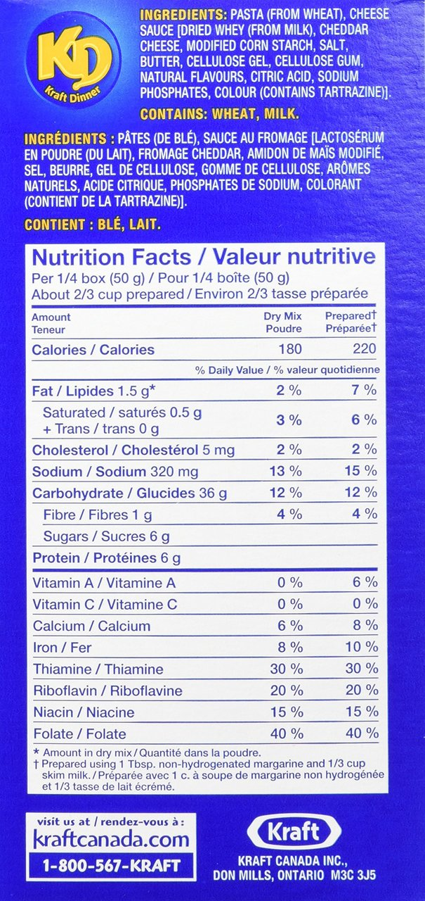 Nutrition facts from the side of a Kraft Dinner box
