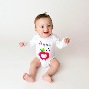 A is for...Apple Long-Sleeve Onesie