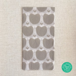 2 sheets warm grey heart patterned with leaves tissue paper, folded
