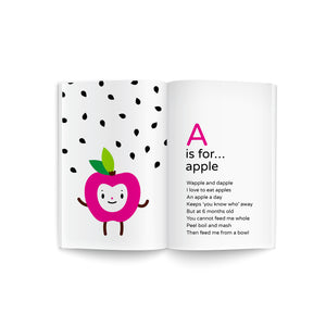"book spread of baby's first A-Z cookbook, recipe poem book, adorable ""A is for Apple"" fuchsia apple happy face character illustration on white background with black apple seeds graphic, must read baby shower gift, library collection, promotes early literacy"