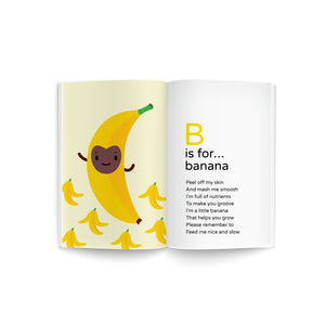 "book spread of baby's first A-Z cookbook, recipe poem book, bouncing ""B is for Banana"" yellow banana with brown happy face character illustration on soft yellow background with banana peels, must read baby shower gift, library collection, promotes early literacy"