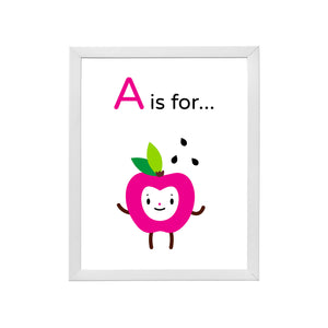 "Sample of Adorable ""A is for Apple"" happy face fuchsia character illustration on white background, DIY printable inside a sample white wood frame"