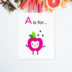 "Download and print your own 8.5x11 Adorable ""A is for Apple"" happy face fuchsia character on white paper"