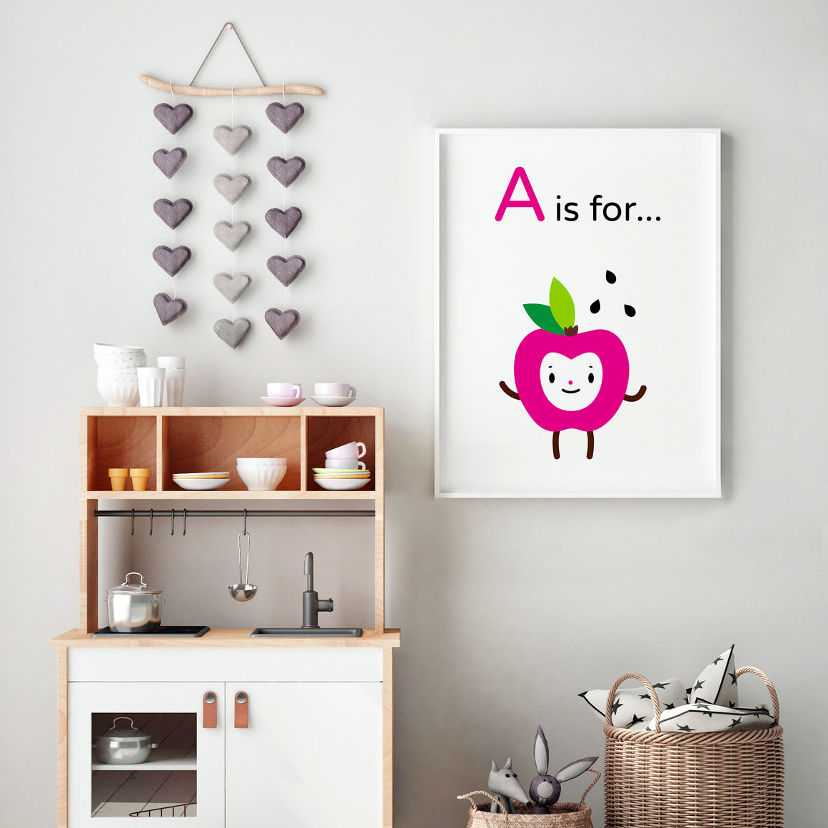 "Adorable ""A is for Apple"" happy face fuchsia character illustration on white background, DIY printable"