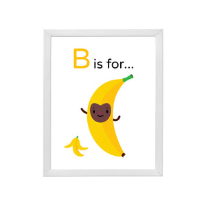 "Sample of Bouncing ""B is for Banana"" yellow character brown happy face illustration with banana peel on white background, DIY printable inside a sample white wood frame"