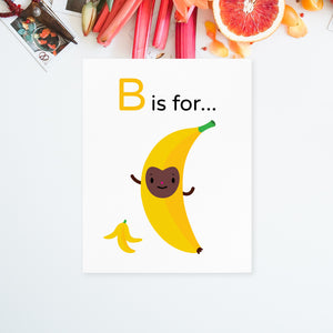 "Download and print your own 8.5x11 Bouncing ""B is for Banana"" yellow character brown happy face character illustration on white paper"