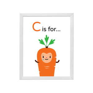 "Sample of Crying ""C is for Carrot"" orange character happy face with green leaf top illustration on white background, DIY printable inside a sample white wood frame"