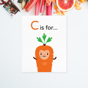 "Download and print your own 8.5x11 Crying ""C is for Carrot"" orange happy face character, light blue tears of joy and green leaf top on white background on paper"