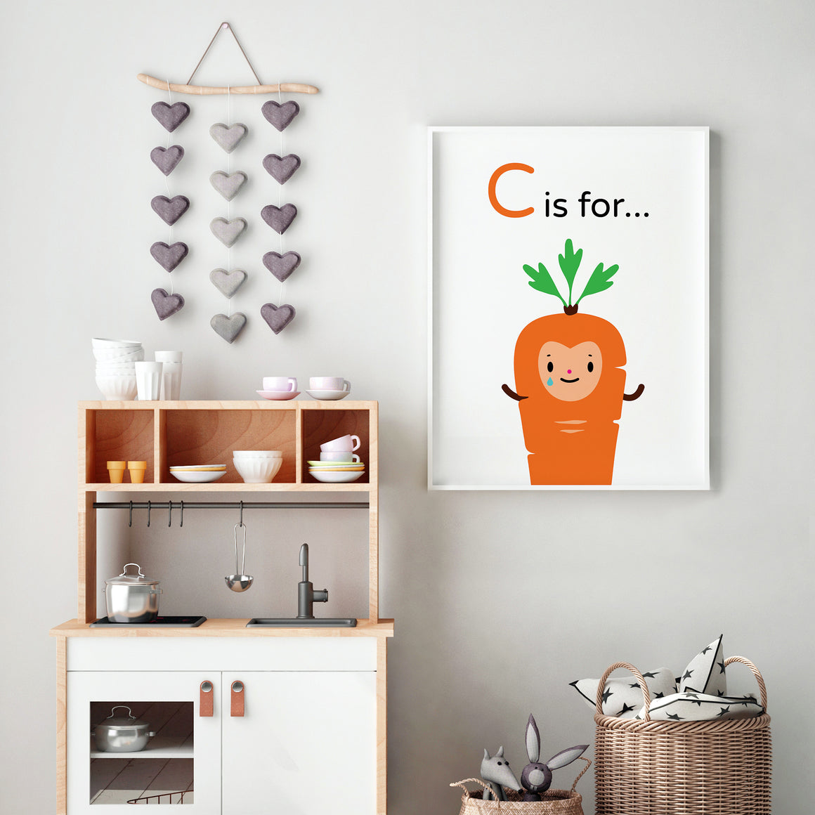 "Crying ""C is for Carrot"" orange character happy face, light blue tears of joy with green leaf top illustration on white background, DIY printable"