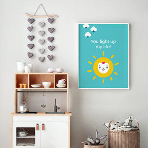 "Solid bright blue background, bright yellow sun happy face, with encouraging message ""you light up my life"" in white lettering illustration, DIY printable"