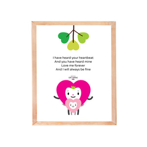Rhyming baby poem in black lettering, fuchsia and pink mom and baby hearts together with green heart tree character illustration on white background, shown in sample light wood frame
