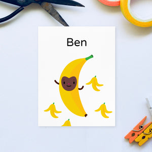 "Download and print your own personalized bouncing ""B is for Banana"" yellow character with brown happy face surrounded by banana peels character illustration on white background, shown on 8.5x11 paper with name ""Ben"" in black lettering"