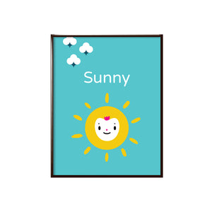 "Sample of personalized bright solid blue background with yellow sun happy face character with sample name ""Sunny"" in white lettering shown with three white puff clouds, character illustration, shown in sample black metal frame"