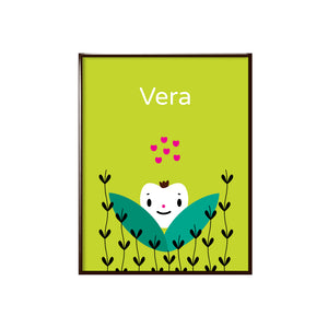 "Sample of personalized bright solid chartreuse green background with happy face white heart character with sample name ""Vera"" in white lettering shown with black heart vines and green leaves, character illustration, shown in sample black metal frame"