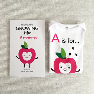 baby's first A-Z recipe poem book with matching onesie bodysuit