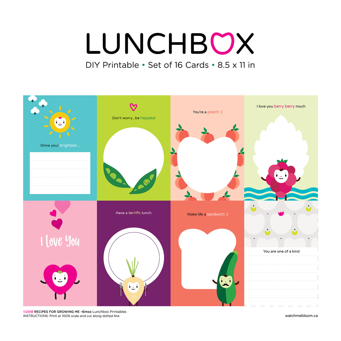 Print your own lunchbox cards, set of 16, multi character, multi colour, assorted encouraging messages, sun, green peas, peaches, raspberry, pink heart i love you, turnip, green zucchini, one of a kind, character illustrations DIY printable, print on 8.5x11 white paper