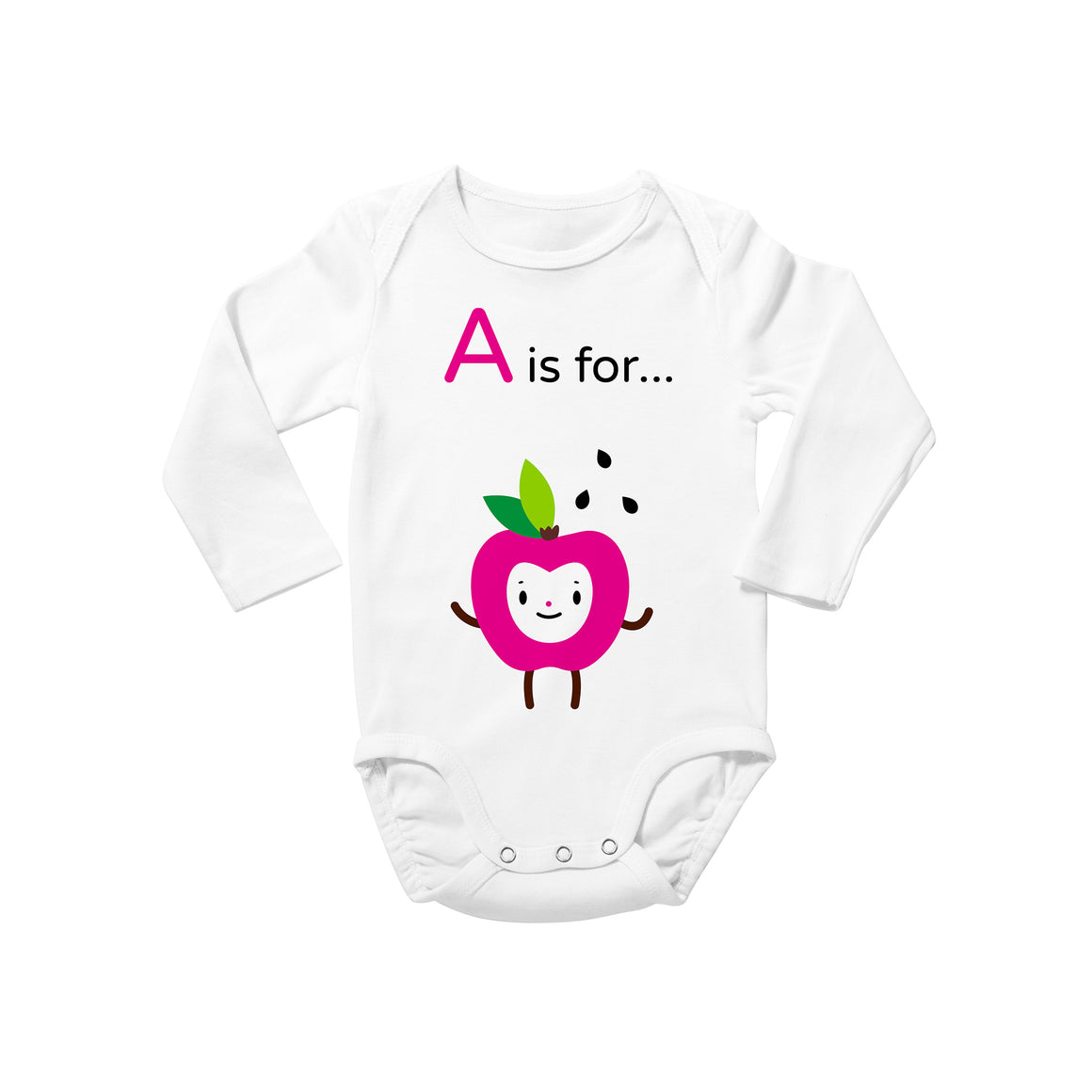 """A is for Apple"" fuchsia apple happy face with green leaves and black apple seeds character illustration on white long sleeve onesie bodysuit, baby shower gift"