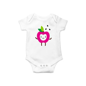 Adorable fuchsia apple happy face with green leaves and black apple seeds character illustration on white short sleeve onesie bodysuit with snaps at bottom, baby shower gift
