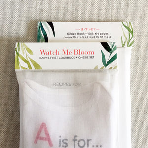 Baby Shower Gift Set, Recipe book and Onesie for 6 to 12 months