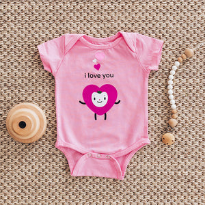 Pink baby once bodysuit shirtsleeve with I love you text and three tiny hearts
