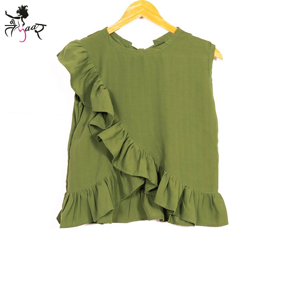 Frill Cotton Green Top
