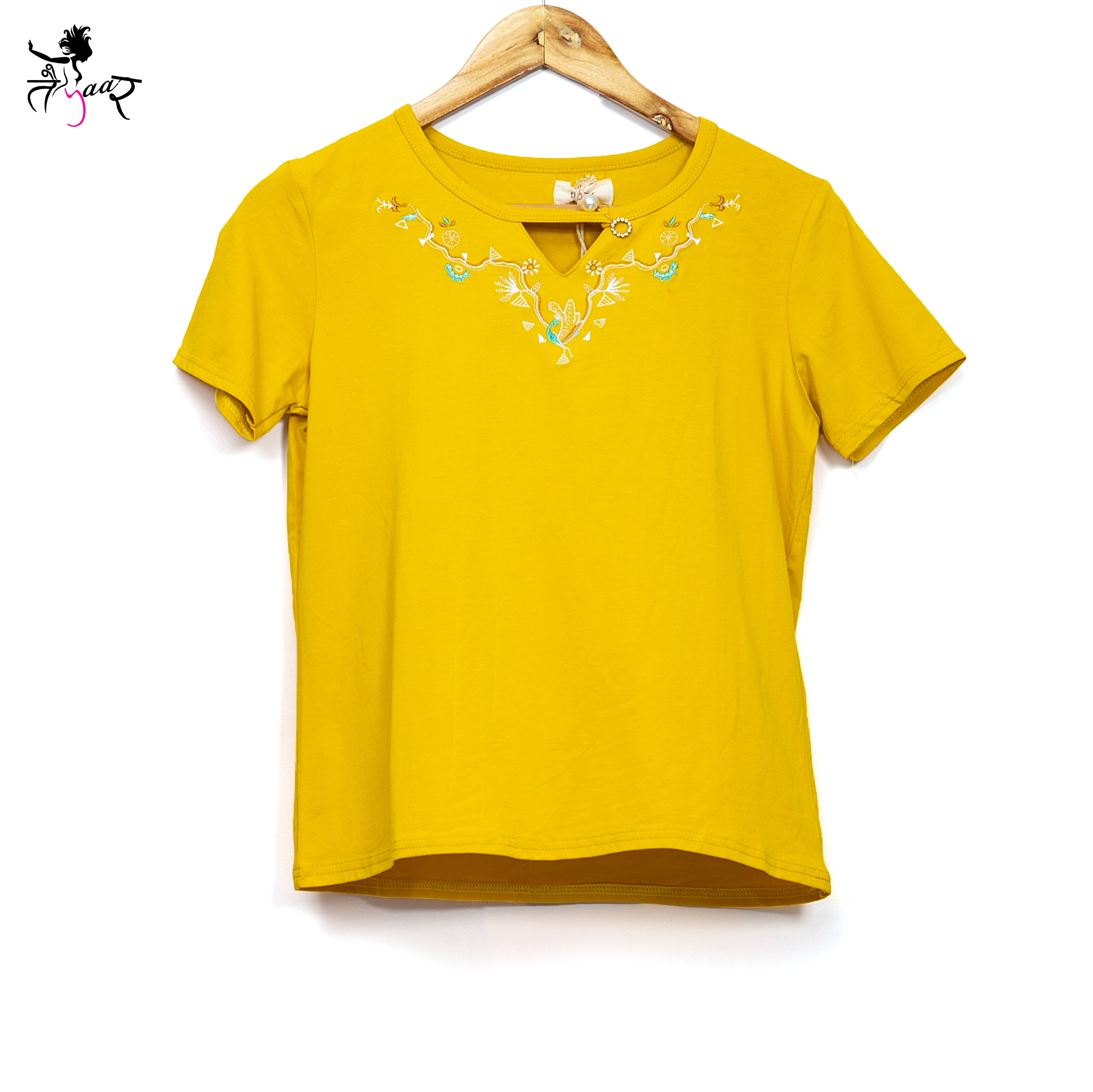 Embroidered Neckline Tops