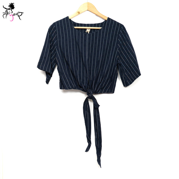 Front Knot Short Sleeve Striped Tops