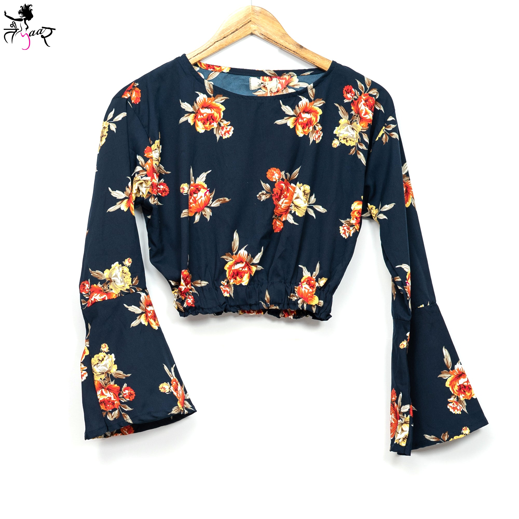 Floral Bell Sleeves Printed Crop Top