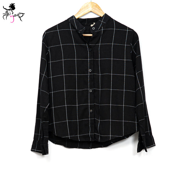Chinese collar checkered Shirt