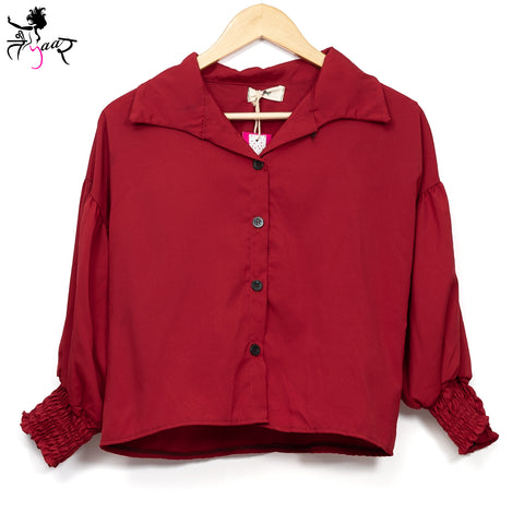 Smocked Cuff Long Sleeved Buttoned Shirts