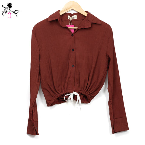 Long Sleeved Waist Tie Buttoned Shirts