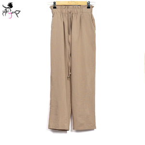 Beige Mid-Rise Straight Fit Pants