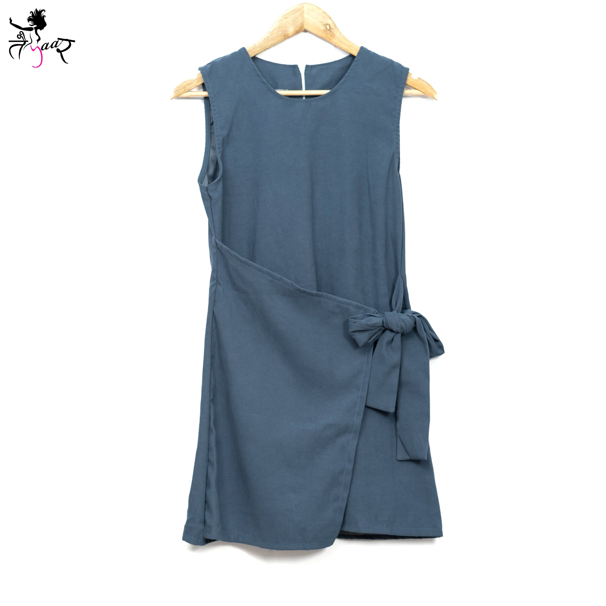 Flap Over Waist Tie Sleeveless Dresses
