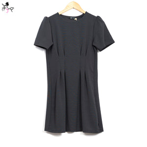 Short Sleeved Partially Pleated Dress