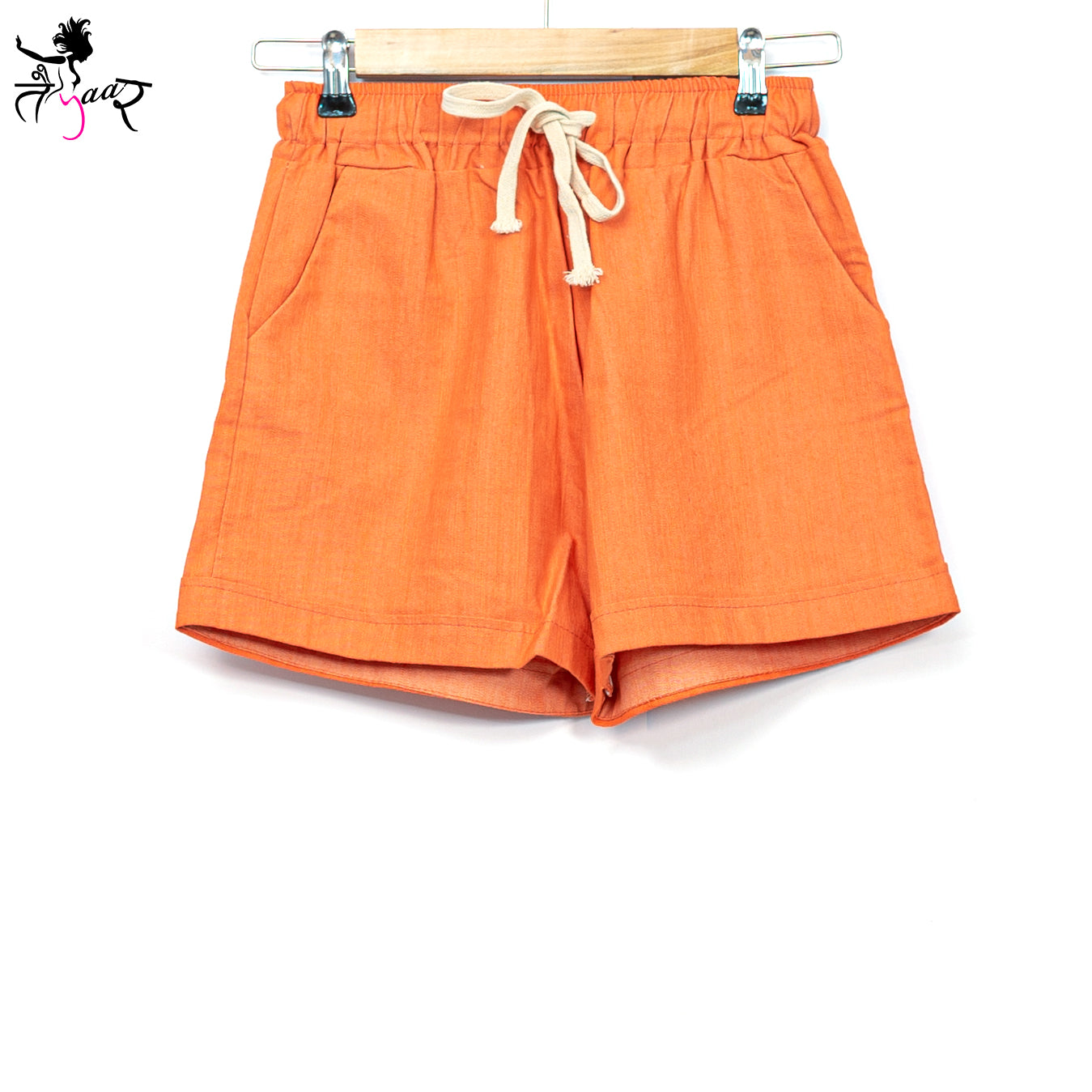 Orange cotton shorts with pockets