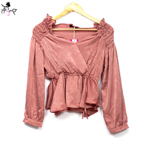 Smocked Shoulder Long Sleeve Party Wear Top