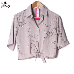 Front Knot Printed Shirt