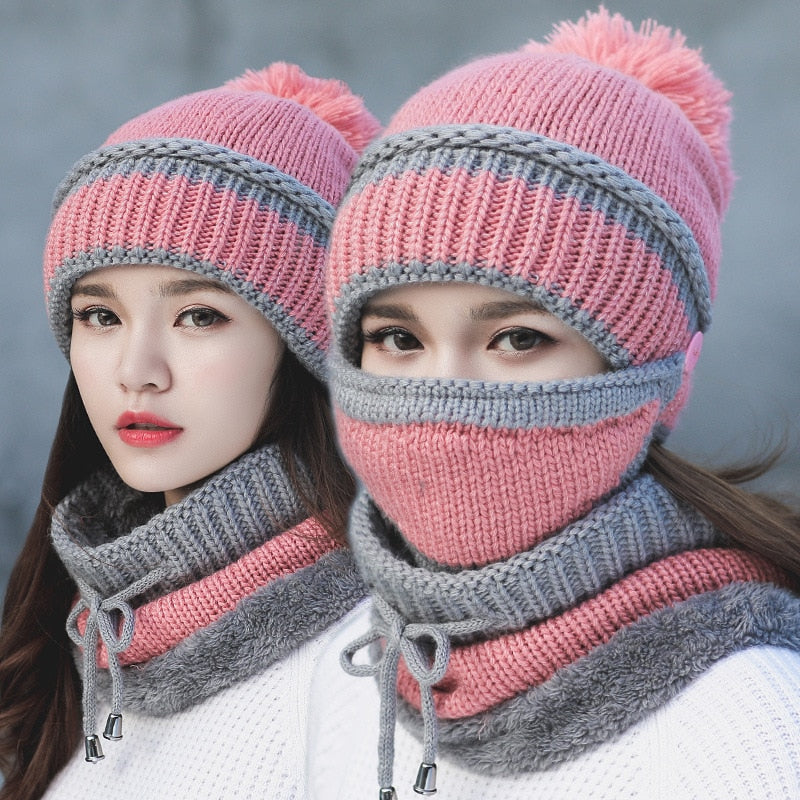 Winter thick plus cashmere warm masks hat scarf CWC eb9e55c29ee
