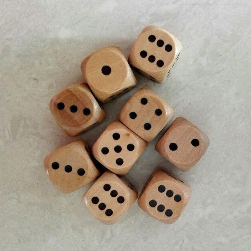 16mm Lot of 6 Wooden Dice Board Games Bar Party Toy (set, d6, pips, wood) SDE