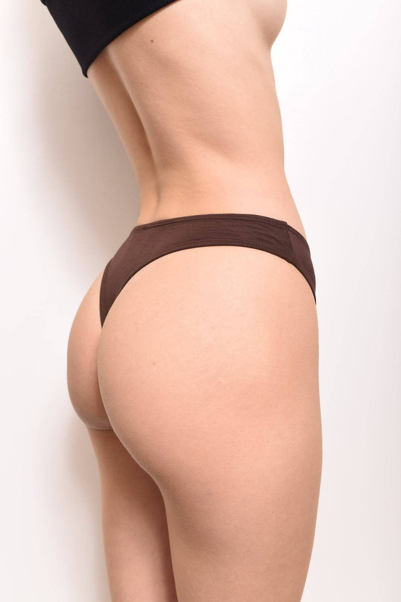 100% MicroModal Thong Underwear: Chocolate