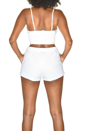 White French Terry Drawstring Shorts