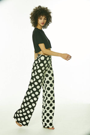 Black and White Polka Pants Wide Leg Pants - SHON SIMON