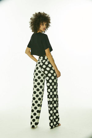 Black and White Polka Pants Wide Leg Pants