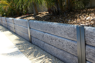 Austral Masonry Timber Look Charcoal 2000x200x75mm Sleeper Retaining Wall