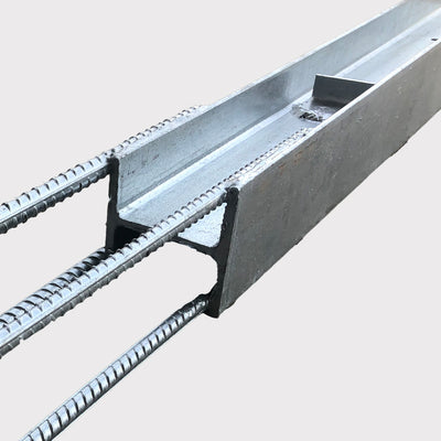 QPro Concrete Sleepers - Galvanised Steel H Posts with REO 3650mm